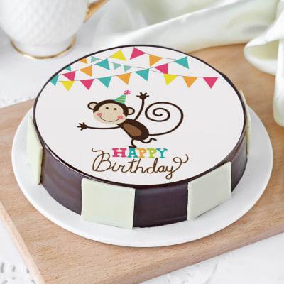 Jumping Monkey Birthday Cake (Eggless) (Half kg)