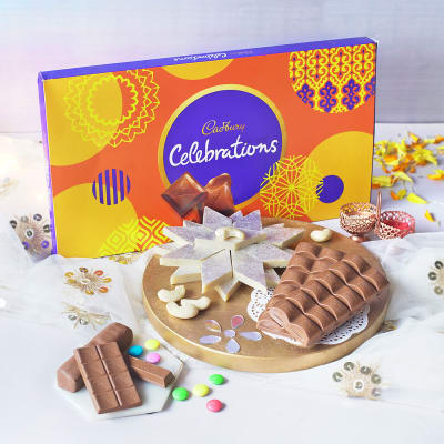 Kaju Katli 500 Gms With Roli Chawal & Assorted Chocolates