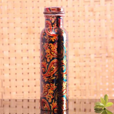 Kalamkari Print Copper Water Bottle