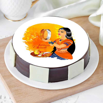 Karwa Chauth Theme Poster Cake (Half Kg)
