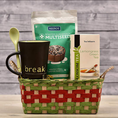 Keeros Roasted Supersnack Multiseed With Green Tea Infusers And Coffee Mug In Jute Basket