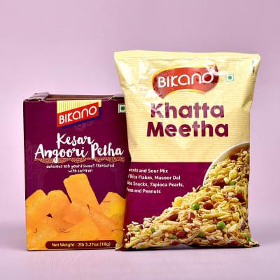 Kesar Angoori Petha & Khatta Meetha Namkeen Combo