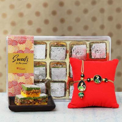 King and Queen Bhaiya Bhabhi Rakhi with Pista Badam Sweets