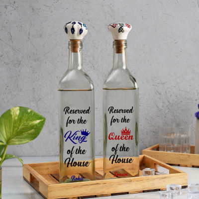 King'n'Queen Personalized Glass Water Bottles