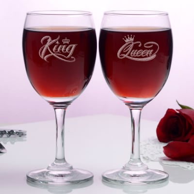 King & Queen Engraved Wine Glasses (Set of Two)