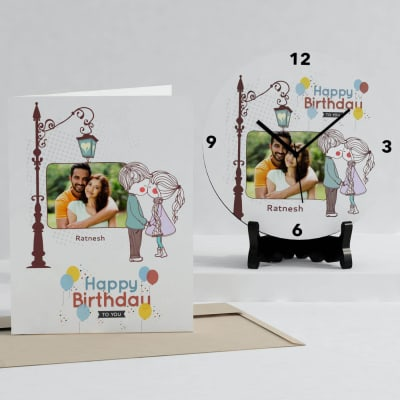 Kiss Under the Lampost Personalized Clock & Card Combo