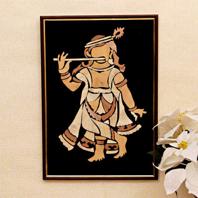 Krishna Wooden Relief Framed Painting