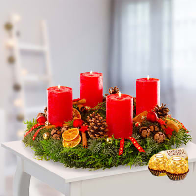 Large red Advent wreath 35cm with 2 Ferrero Rocher