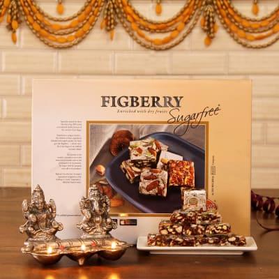 Laxmi ganesha 3 batti diya with sugarfree figberry giftsend diwali laxmi ganesha 3 batti diya with sugarfree figberry negle Image collections