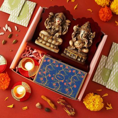 Laxmi Ganesha Idols with Designer Diya in Gift Box