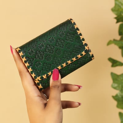 Leaf Green Floral Embossed Leather Wallet