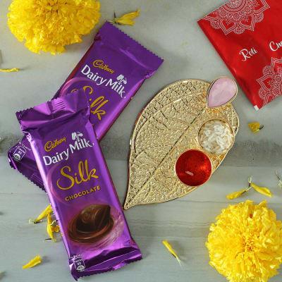 Leaf Shaped Bhai Dooj Tikka Thali with Chocolates Hamper