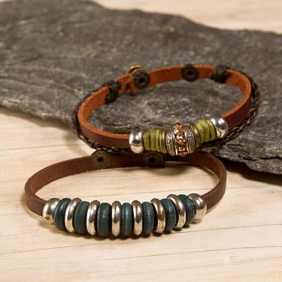 Leather Bracelet Combo With Thread Work