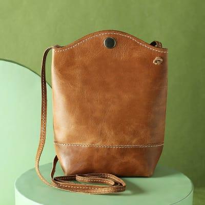 Leather Sling Bucket Bag for Women