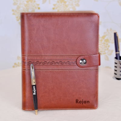Leatherette Personalized Brown Notebook Pen Hamper