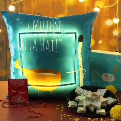 LED Satin Cushion with Kaju Katli Hamper