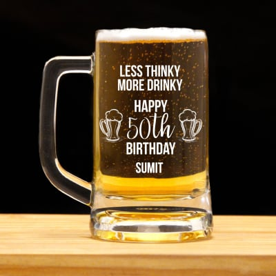 Less Thinky More Drinky Personalized Birthday Beer Mug