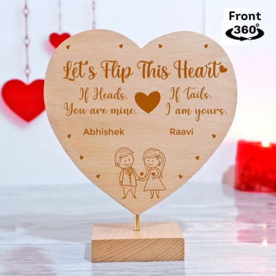 Let's Flip For Love Personalized Heart Shaped Showpiece with Stand