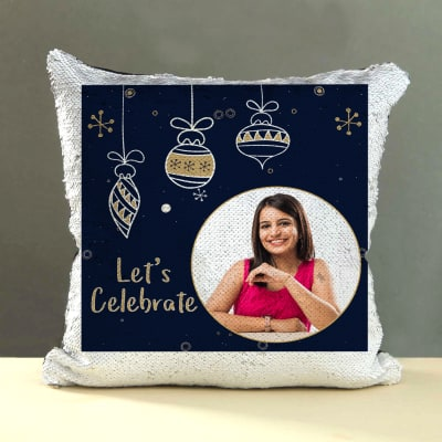 Lets Celebrate Personalized Sequin Cushion