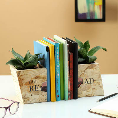 Lets Read Wooden Planter Bookends