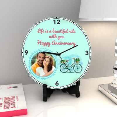 Life is a beautiful ride with you Personalized Anniversary Clock