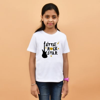 Little Rock Star White T-Shirt for Girls