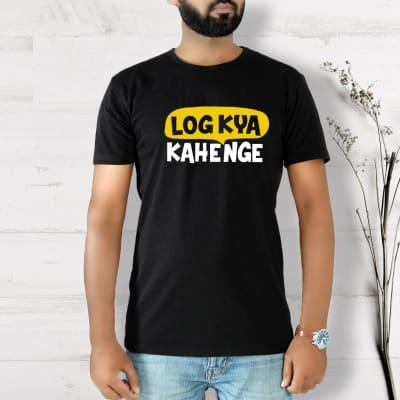 Log Kya Kahenge Half Sleeve Men's T-Shirt - Black