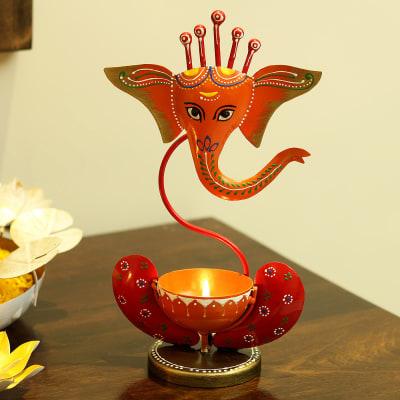 Lord Ganesha Designer Large Metal Diya