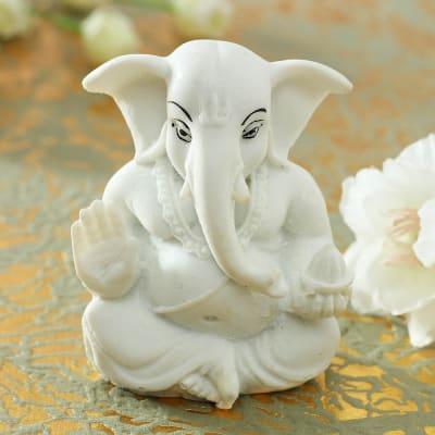 Lord Ganesha Idol in Pearl White