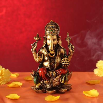 Lord Ganesha Idol Sitting on Lotus Flower