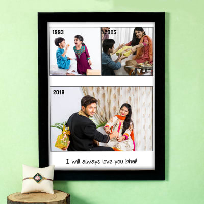 Lotus Rakhi with Personalized Brother Collage Frame