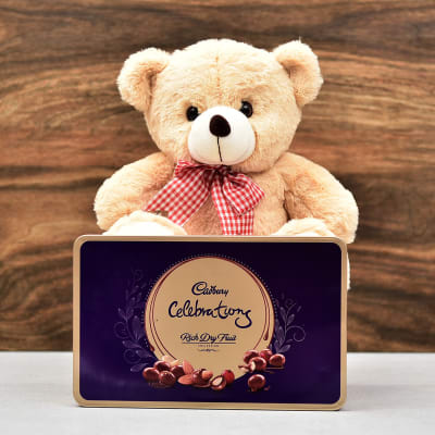 Lovable Teddy Bear With Cadbury Celebrations Rich Dryfruit Collection Tin Box