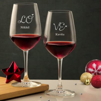 Love For Wine Personalized Glasses