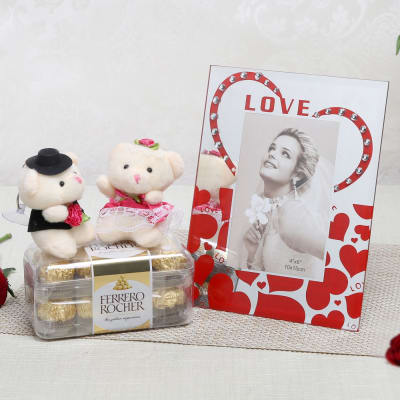 Love Frame with Couple Teddy Keychain and Box of Chocolate: Gift ...