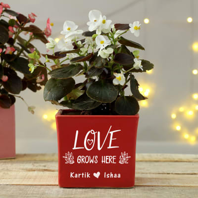 Love Grows Here Personalized Ceramic Planter