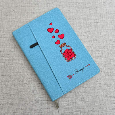 Love Hearts Blue Personalized Diary With Mobile Pouch Holder