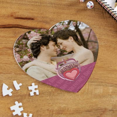 Love is in the Air  Personalized Valentine Heart Shaped  Puzzle