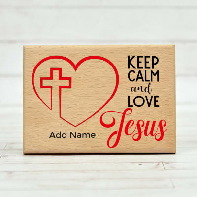 Love Jesus Personalized Wooden Plaque
