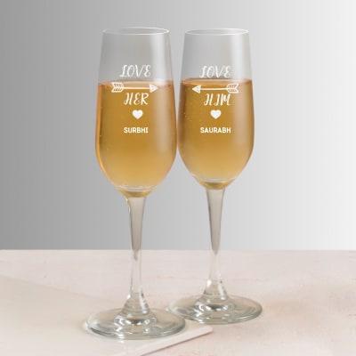 Love Personalized Champagne Glasses