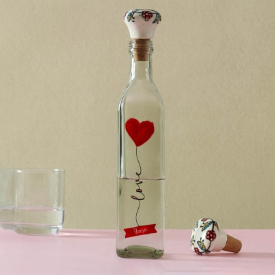 Love Personalized Glass Water Bottle with Ceramic Lid