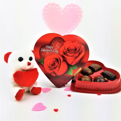 Love Teddy with Assorted Chocolates in Heart Shaped Box