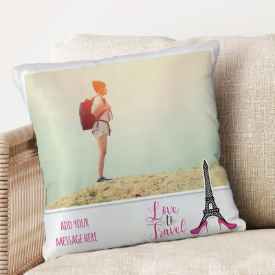 Love To Travel Personalized Birthday Cushion