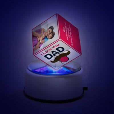 Love You Dad Personalized Rotating Crystal Cube with LED
