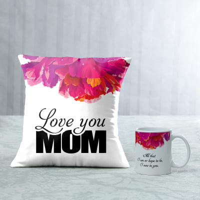 Love You Mom Cushion Mug Combo