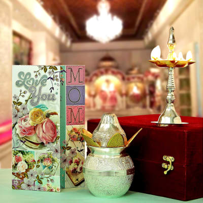 Love You Mom Greeting Card with Silver Plated Puja Accessories in Gift Box