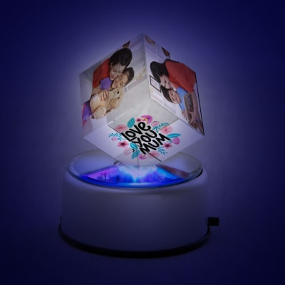 Love you Mom Personalized Crystal Cube with LED