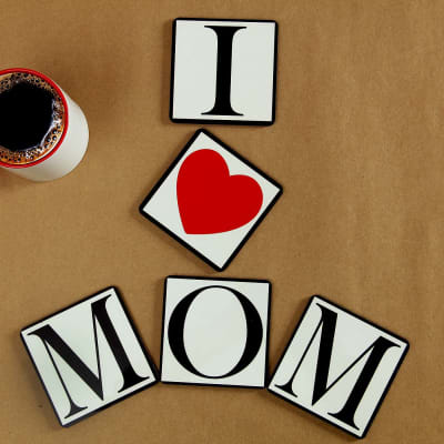 Luv U Mom Set of 5 Coasters