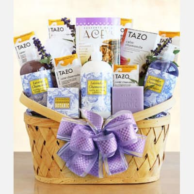 Luxurious Lavender Tea Spa Basket