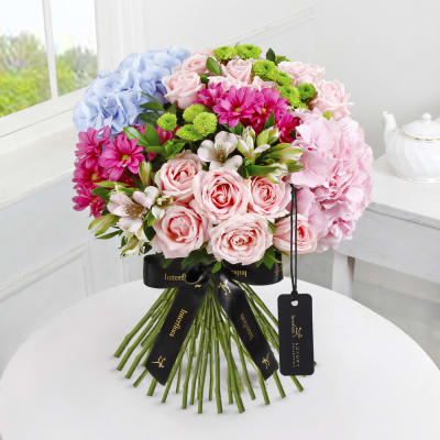 Luxury Blue and Pink Hydrangea Hand-tied