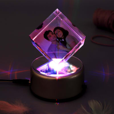 Magical Love Personalized Rotating Crystal Cube With LED